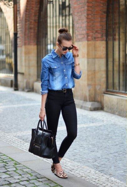 boyfriend denim shirt with black slim fit jeans