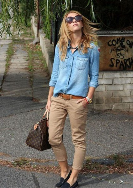 boyfriend denim shirt with chinos and black loafers