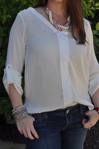 chiffon semi sheer blouse with dark blue skinny jeans