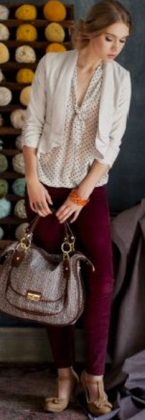 cream and black tie neck polka dot blouse with light pink blazer