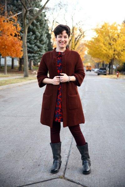 dark red button up tunic sweater over leopard print mini dress