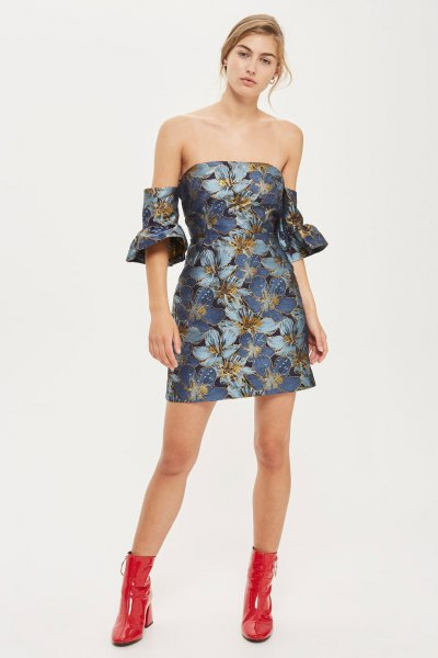 floral printed purple bardot mini dress