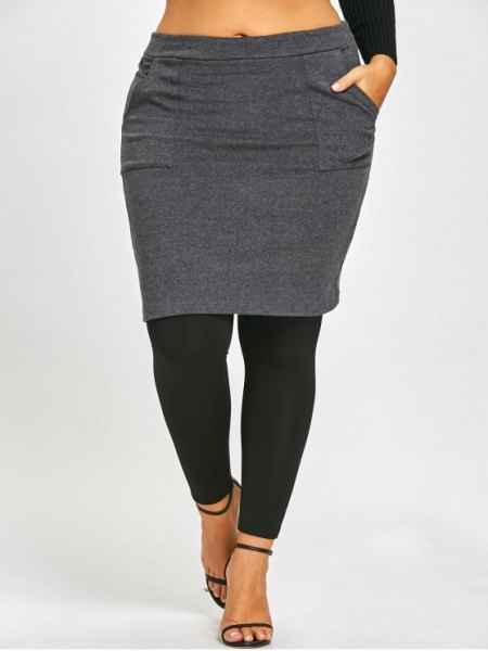 grey and black skirted leggings and cropped long sleeve tee