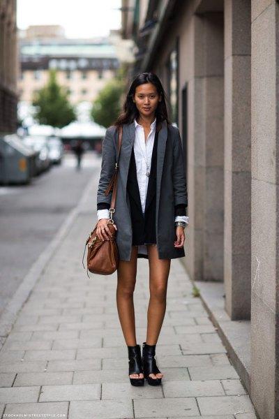 grey boyfriend jacket with black mini dress