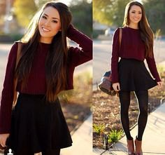 grey crew neck slim fit sweater with black mini high waisted skater skirt