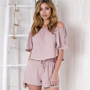 grey off the shoulder short sleeve blouse with mini flowy shorts
