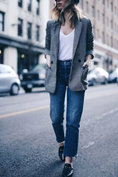 grey plaid jacket with white scoop neck tank top and high waisted jeans