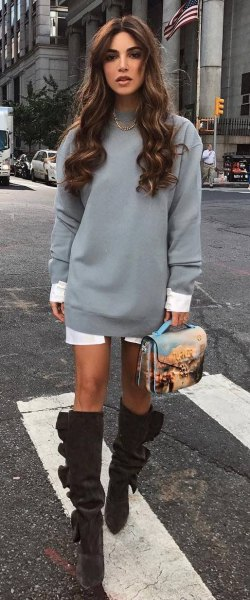 grey sweatshirt dress with white longline tunic shirt