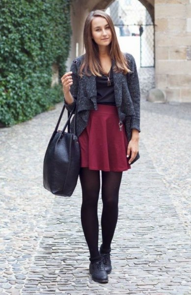 heather grey short wool jacket with maroon mini pleated skater skirt