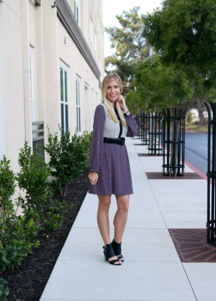 light grey vest with long sleeve mini shift dress and open toe boots