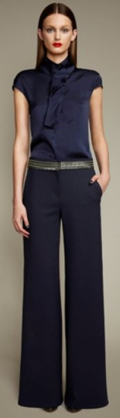 mock neck silk blouse with flared pants