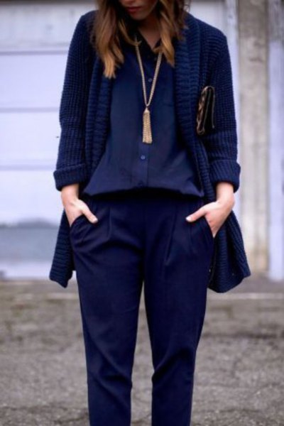 navy blouse with blazer and long boho style necklace