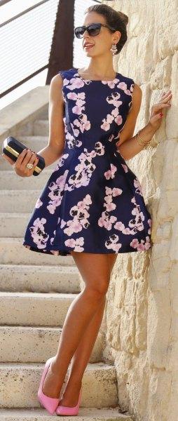 navy blue and white floral printed mini skater dress