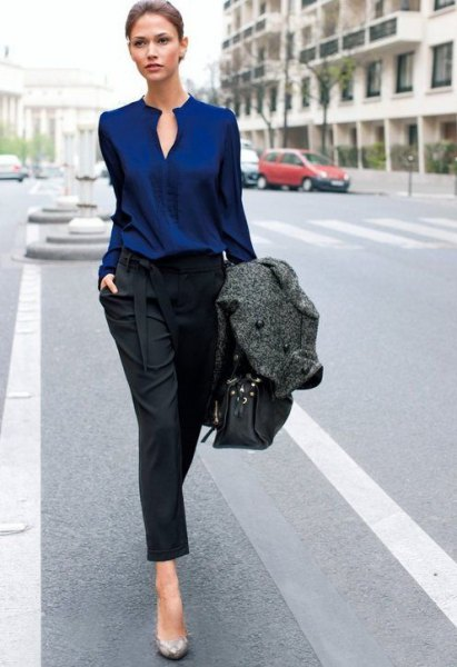 navy blue keyhole blouse with black cropped straight leg jeans