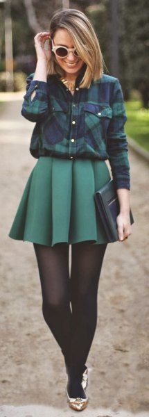 navy plaid shirt with grey high rise pleated skater skirt