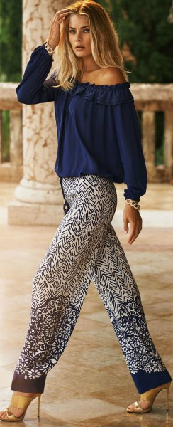 off the shoulder navy blue blouse with printed relaxed fit pants