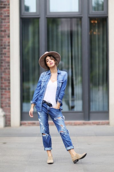oversized blue denim shirt with cuffed boyfriend jeans