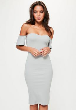 pale pink bardot bodycon midi dress with heels