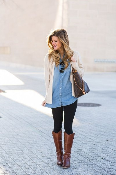 pale pink sweater cardigan with tunic denim shirt and grey leather boots