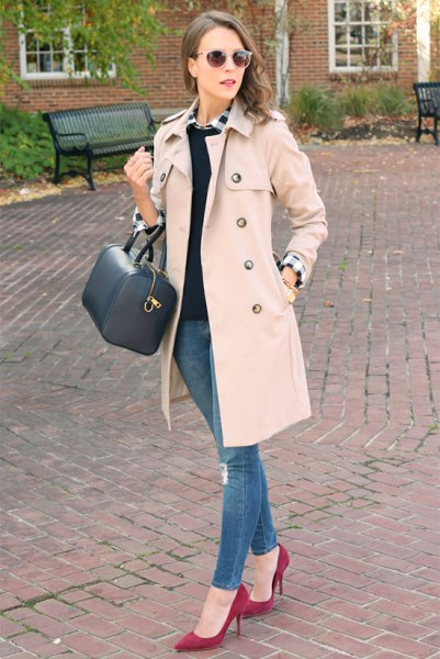 pale pink walker coat with white shirt and black pullover sweater