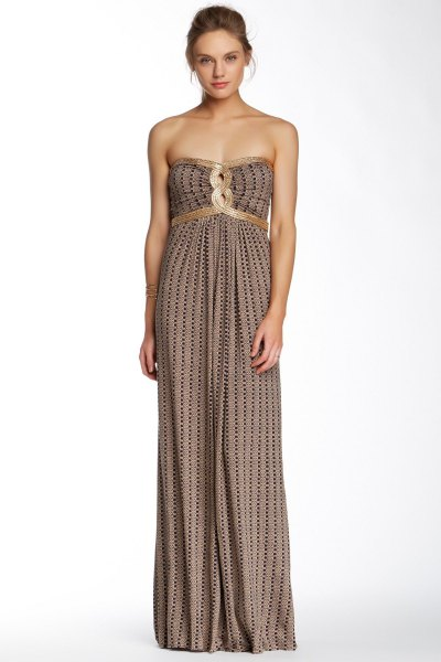 pink and black patterned gathered waist maxi strapless dress