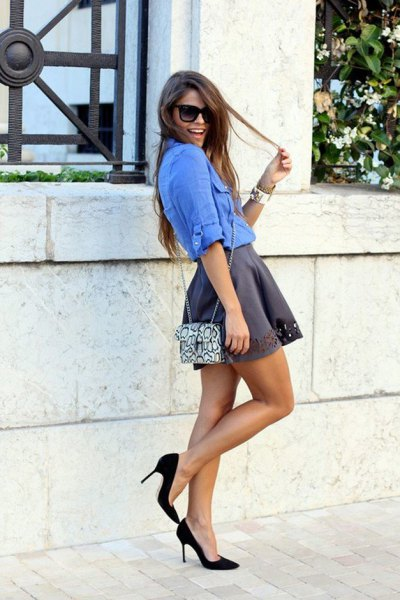 royal blue denim blouse with grey silk mini skater skirt