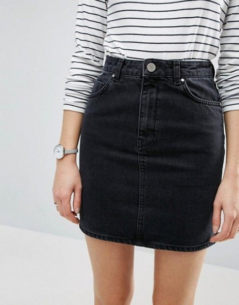 striped long sleeve t shirt with black high waisted denim mini skirt