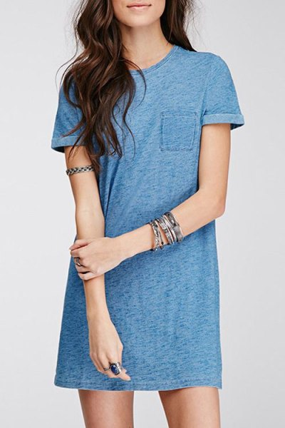 teal blue mini t shirt dress with white sneakers