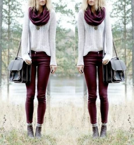 white crochet knit sweater with infinity scarf and maroon skinny jeans