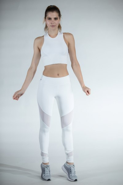 white cropped tank top with mesh leggings