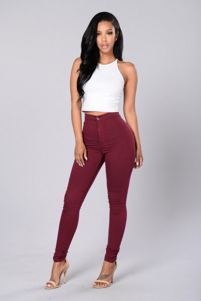 white cropped tank top with super skinny maroon jeans