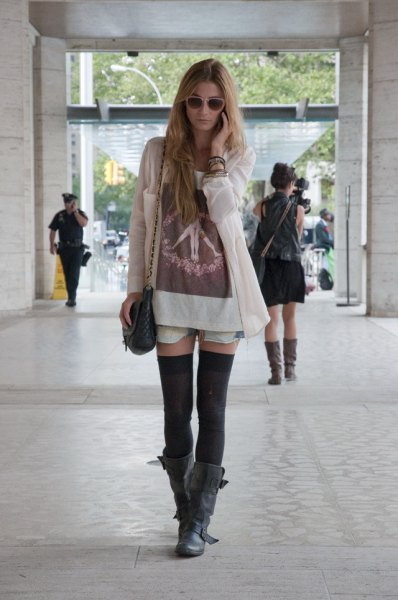 white long cardigan with t shirt dress and black thigh high tights