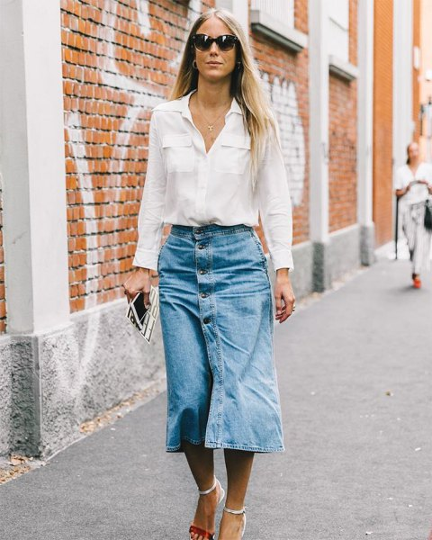 white pocket front shirt with denim button front midi skirt
