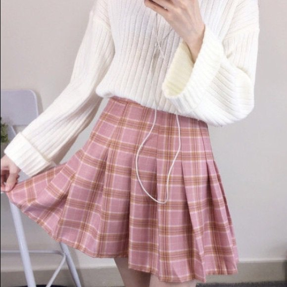 white ribbed knit sweater with blush pink pleated plaid min skirt