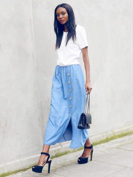 white t shirt with sky blue long denim skirt