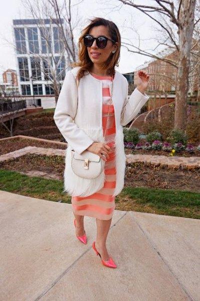 white walker coat with blush pink semi sheer midi dress