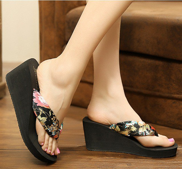 black and blush pink floral printed heeled flip flops with mini dress