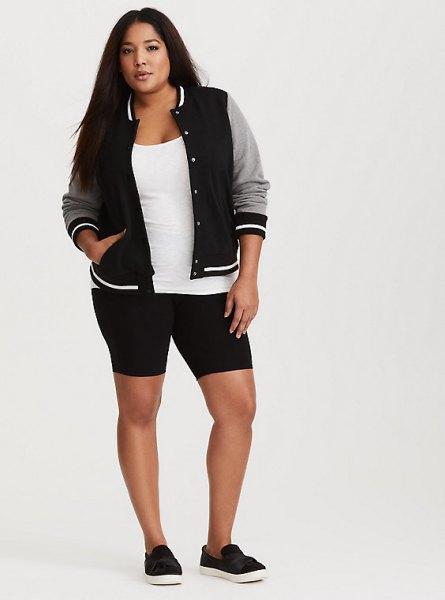 black and grey baseball jacket with knit shorts
