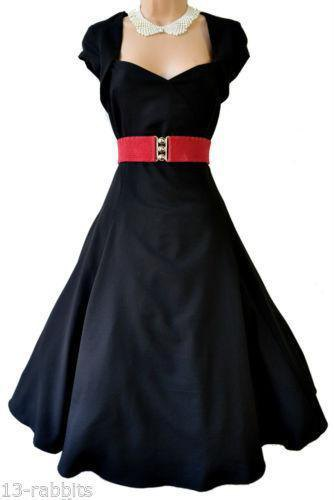 black and red pin up fit and flare midi dress with white lace choker