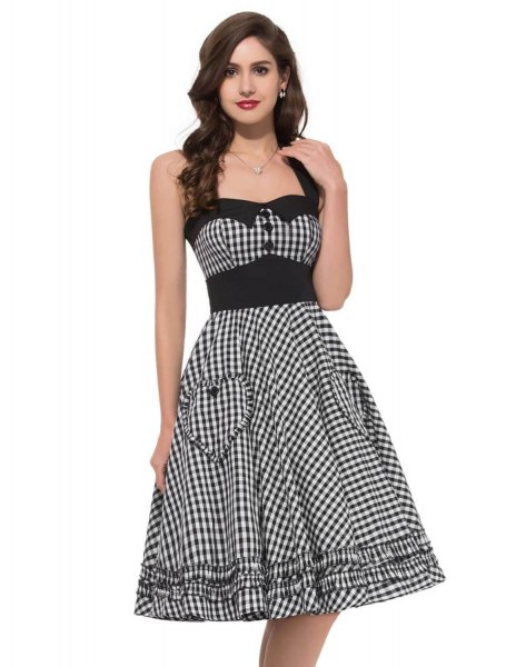 black and white checkered fit and flare square neckline midi dress