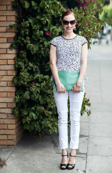 black and white patterned short sleeve tee with cropped pants