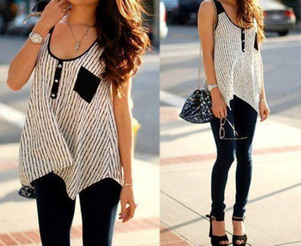 black and white scoop neck tunic sleeveless top with skinny jeans