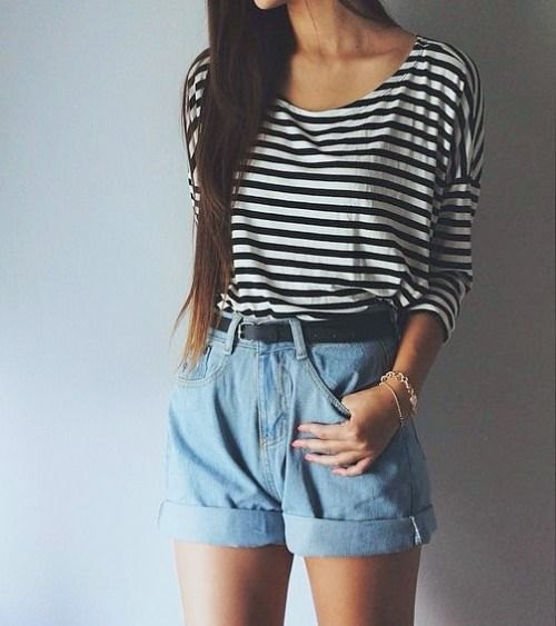 black and white striped long sleeve tee with cuffed denim high waisted shorts
