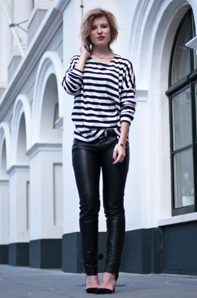 black and white striped long sleeve tee with leather leggings