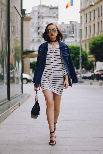 black and white striped mini dress with blue denim jacket and choker