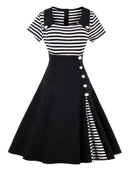 black and white striped two toned pin up flared midi dress