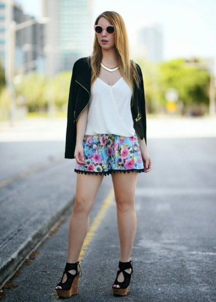 black casual blazer with light blue floral printed mini shorts