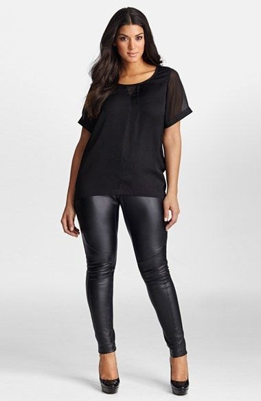 black chiffon scoop neck t shirt with leather leggings