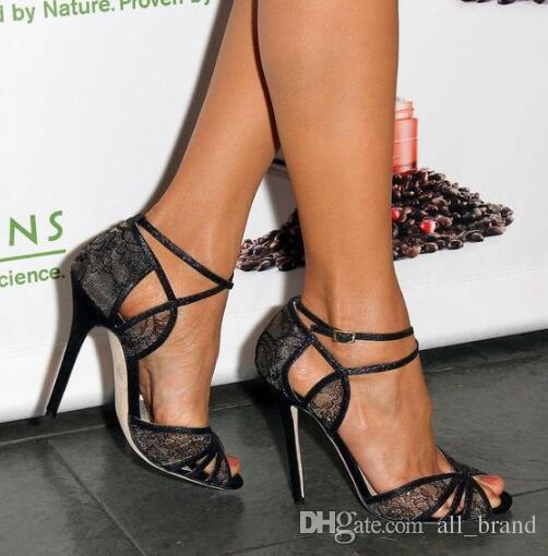 black cutout open toe lace heels with halter neck mini dress