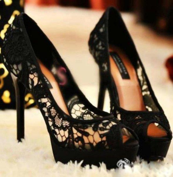 black lace mini swing dress with matching high heels
